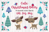Cute Christmas Deer. Vector cliparts. example image 1