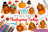 Thanksgiving Turkeys Watercolor Clipart, Instant Download example image 1