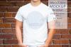Mens Shirt Mockup Brick Wall 3.2 Aspect Ratio example image 1