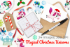 Christmas Unicorns 4 Watercolor Clipart, Instant Download example image 4