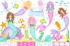 Mermaids, Mermaid graphics & Illustrations, Under the sea example image 1