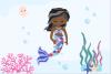 Pastel Mermaid Set - Dark Skin Clipart example image 2