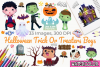 Halloween Trick Or Treaters Boys Watercolor Clipart example image 1