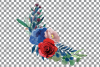 Colorful navy and burgundy floral watercolor wedding bouquet example image 8