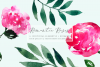 Pink Watercolor Hand Painted Roses Clip Art Set example image 1