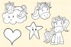 Cute Unicorns and Rainbows Digital Stamps example image 5
