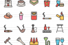 40 Cafe & Bar Linear Multicolor Icons example image 2