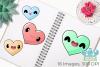 Kawaii Hearts Clipart, Instant Download Vector Art example image 3