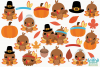 Thanksgiving Turkeys Clipart, Instant Download Vector Art example image 2