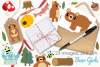 Bear Girls Clipart, Instant Download Vector Art example image 4