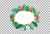 Watercolor tropical navy blue and green exotic floral frames example image 7