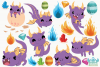 Purple Dragons Clipart, Instant Download Vector Art example image 2