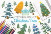 Christmas Trees Clipart, Instant Download Vector Art example image 1