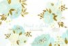 Mint and Gold. Watercolor floral clipart. example image 2
