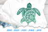 Mandala Sea Turtle SVG DXF Cut Files example image 2