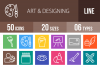 50 Art & Designing Line Multicolor B/G Icons example image 1