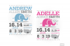 Elephant Birth Announcement SVG Ear Birth Stats Template example image 5