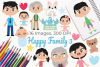 Happy Family 3 Clipart, Instant Download Vector Art example image 1