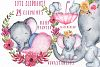 Cute Elephant clipart,WATERCOLOR ANIMALS, Baby shower clipat example image 1