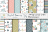 Pastel flowers seamless pattern / Peach blue green floral digital paper / Floral scrapbook papers example image 1