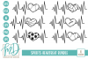 Baseball - Soccer - Football - Sports Heartbeat Bundle SVG example image 1