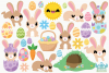 Easter Rabbits Clipart, Instant Download Vector Art example image 2