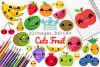 Cute Fruit Clipart, Instant Download Vector Art example image 1