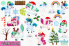 Christmas Unicorns 4 Watercolor Clipart, Instant Download example image 2