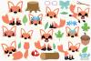 Fox Girls Clipart, Instant Download Vector Art example image 2