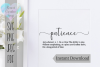 Definition of Patience| Quote | SVG Cutting File example image 1