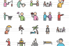 50 Activities Linear Multicolor Icons example image 2
