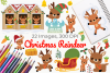 Christmas Reindeer Clipart, Instant Download Vector Art example image 1