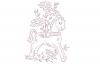 Vintage Redwork PES Design 4x4 Embroidery Hoop Pattern example image 1