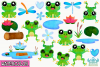 Frog Boys Watercolor Clipart, Instant Download Vector Art example image 2