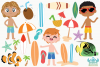 Tropical Surfer Boys Clipart, Instant Download Vector Art example image 2