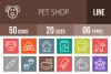 50 Pet Shop Line Multicolor B/G Icons example image 1