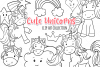 Cute Unicorns and Rainbows Digital Stamps example image 1