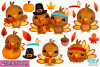 Thanksgiving Turkeys Watercolor Clipart, Instant Download example image 2