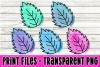 5 PNG Leaf Leaves Bundle - Watercolor Airbursh - Print File example image 1
