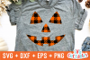 Plaid Pumpkin Face | Halloween SVG Cut File example image 1