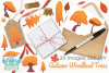 Autumn Woodland Trees Clipart, Instant Download Vector Art example image 4