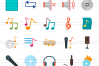90 Music & Multimedia Flat Icons example image 2