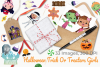 Halloween Trick Or Treaters Girls Watercolor Clipart example image 4