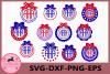 Circle Monogram Frames SVG, 4th of July Svg, America svg example image 1