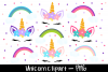 Colourful Unicorn And rainbow clipart bundle example image 1