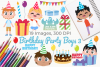 Birthday Party Boys 3 Clipart, Instant Download Vector Art example image 1