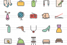50 Household Objects Linear Multicolor Icons example image 2