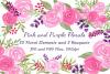 Watercolor Flowers Bundle Hand Painted Pink Purple Florals example image 1