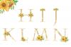 Sunflowers Floral printable alphabet, Gold foil alphabet example image 3