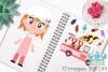 Icecream Van Pink Clipart, Instant Download Vector Art example image 3